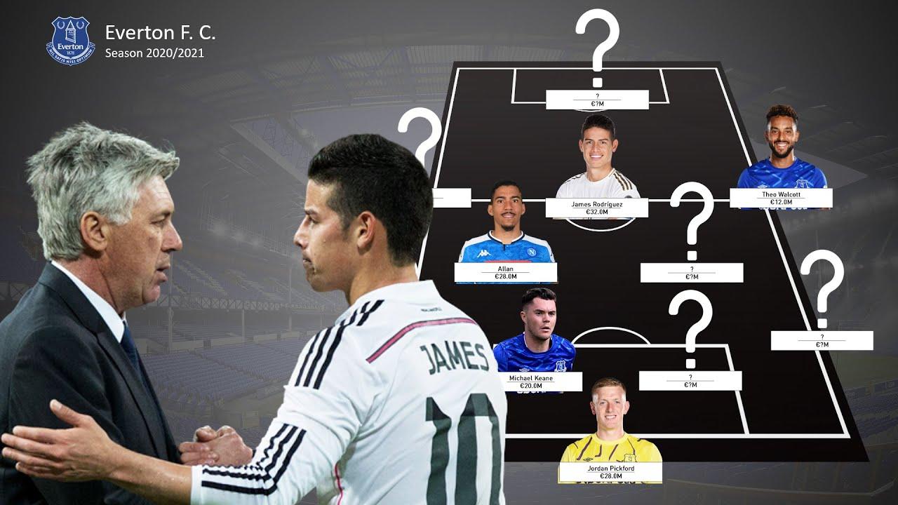 Everton Fc Potential Line Up Next Season 2020 2021 Ft James Rodriguez Allan Youtube