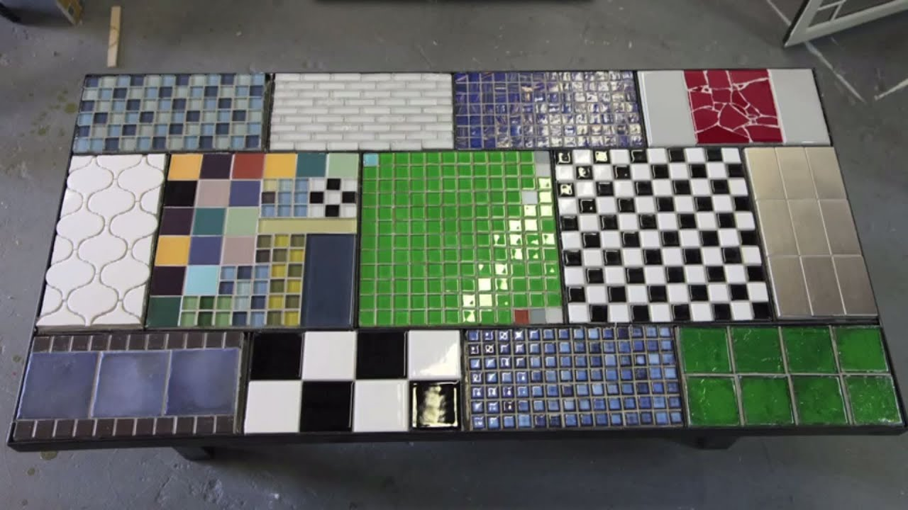 Tile a table top with ceramic tile - YouTube