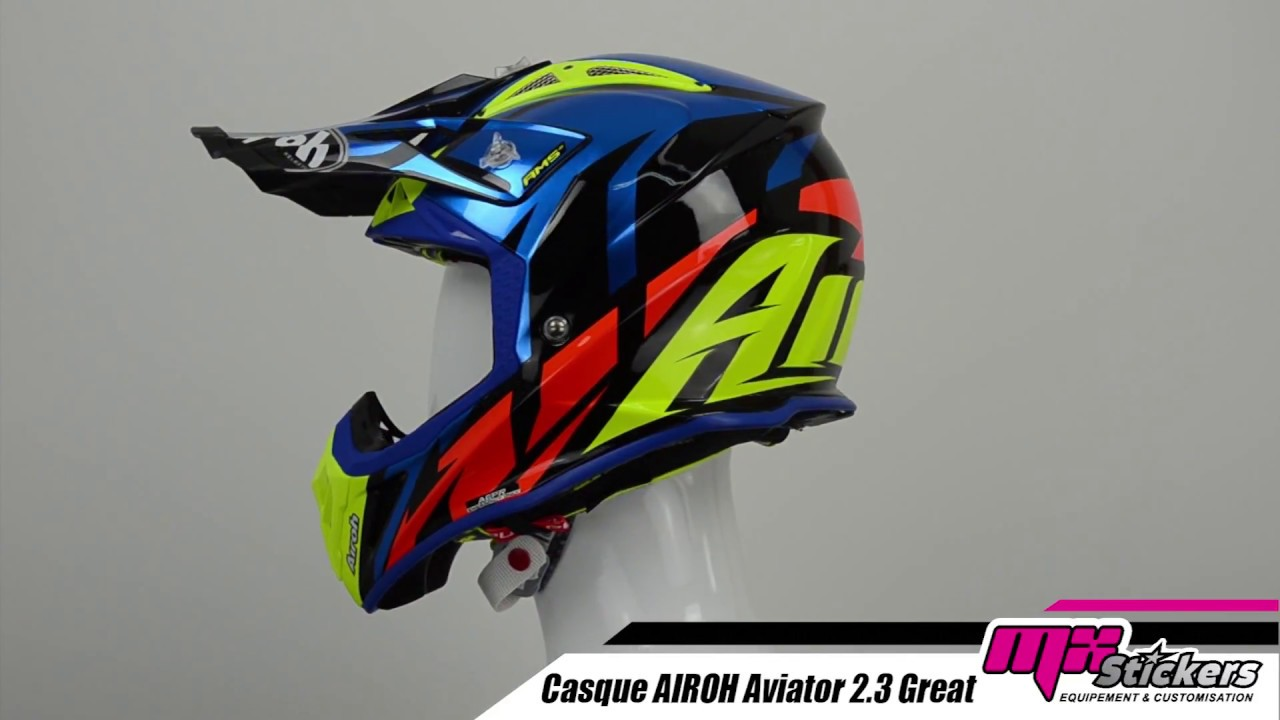 Casque Cross Airoh Aviator 23 Great Bleu Mx Stickers Youtube