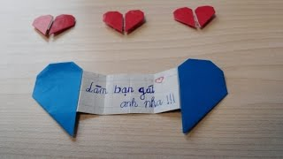 [Origami] Hướng dẫn gấp TRÁI TIM TỎ TÌNH - Làm bạn gái anh nha