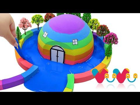 How To Make Rainbow Hut with Kinetic Sand, Slime, Tree Model