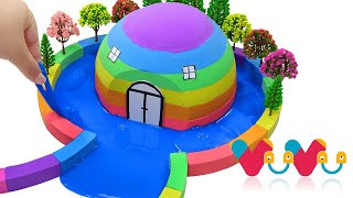 How To Make Rainbow Hut with Kinetic Sand, Slime, Tree Model