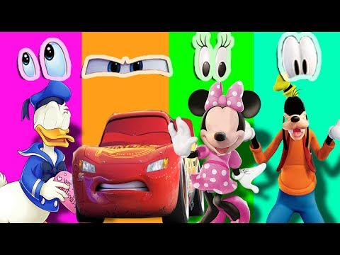 Wrong Eyes Donald Duck Minnie Mouse Pluto Disney Cars 3 Lightning Mcqueen Learn Colors Finger Family