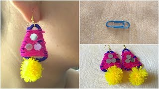 DIY Earring from Paper Clip How to make Navratri Jewellery/Ornaments I Navratri Craft -4