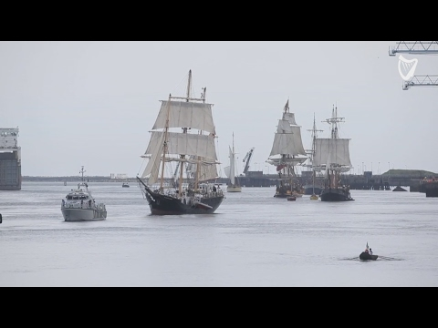 VIDEO: Spectacular Tall Ships return to Dublin Port for Riverfest 2017