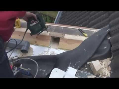 Aanbrengen van een dakdoorvoer stadsuitloop op een epdm plat dak