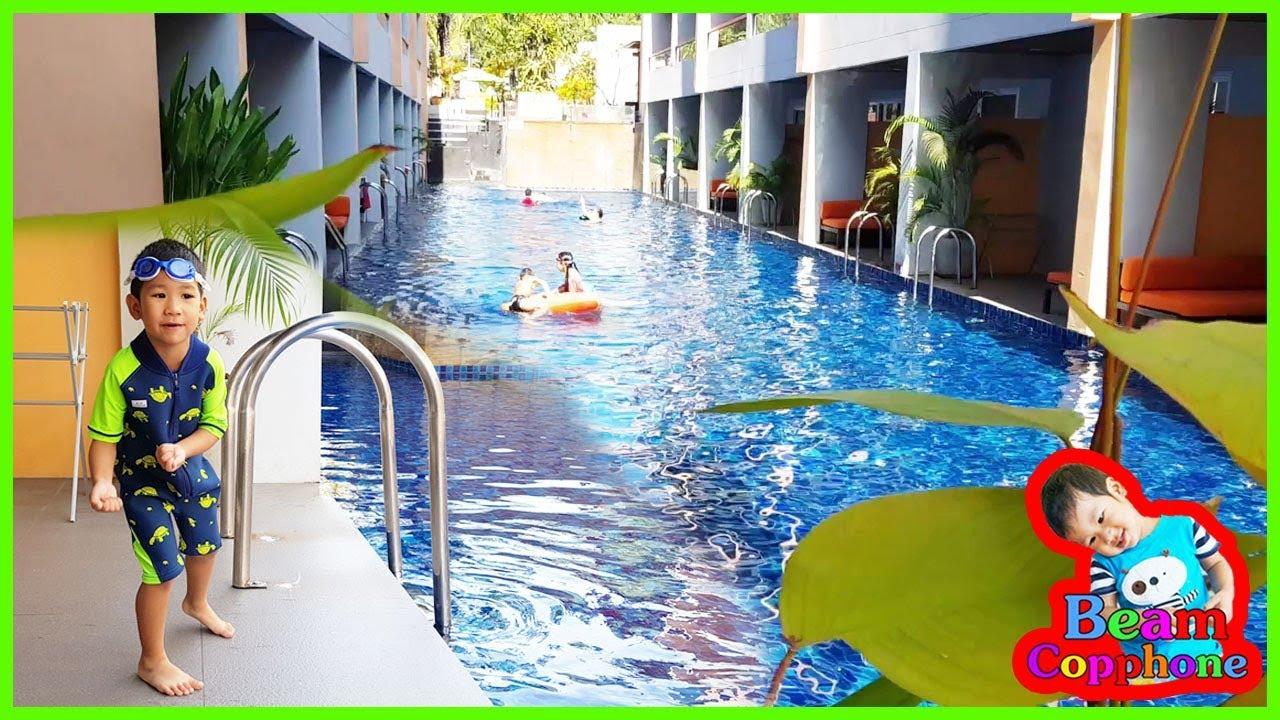 น้องบีม | นอนโรงแรมฟูราม่าติดสระน้ำ เที่ยวเพชรบุรี ชะอำ