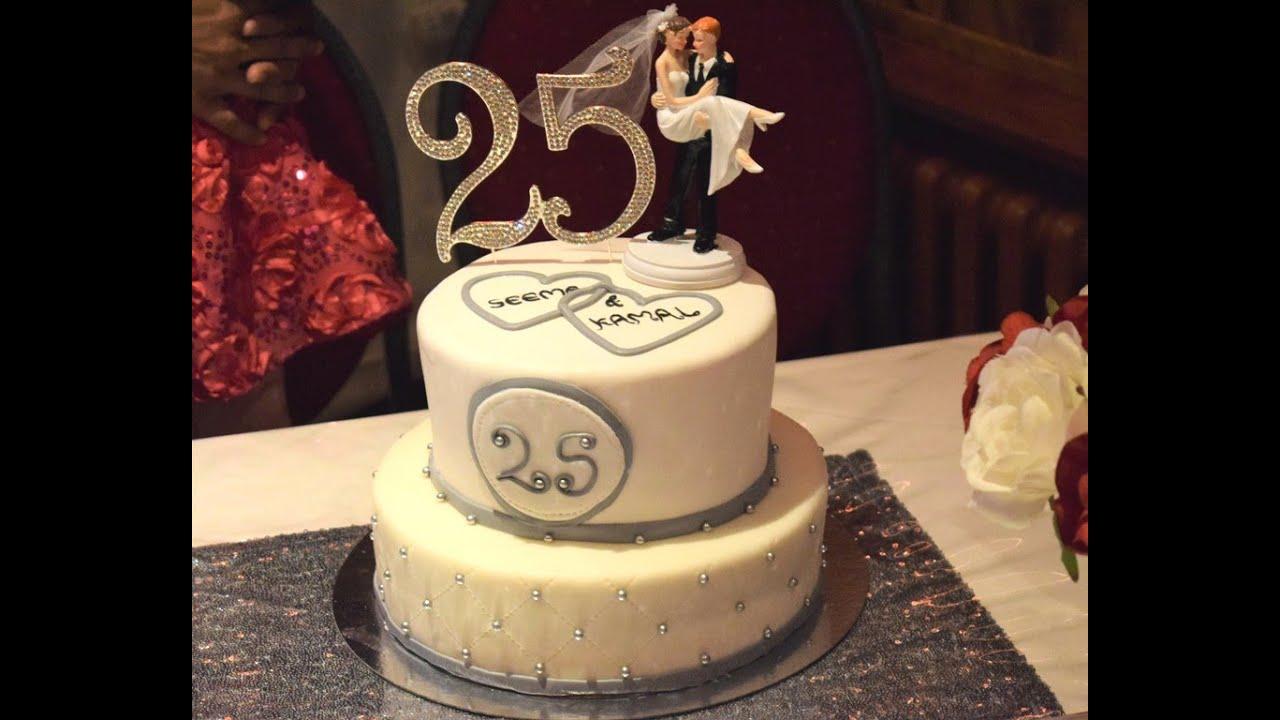 Silver Anniversary Cake 25th Birthday Cake Two Tier Fondant Cake Youtube