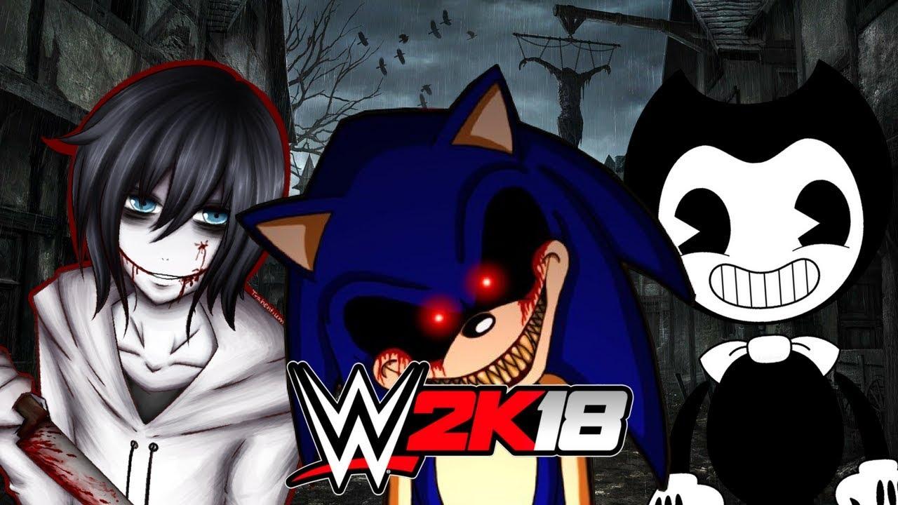 Jeff The Killerexe Roblox - Sonicexe Vs Jeff The Killer Vs Bendy Wwe 2k18 Gameplay