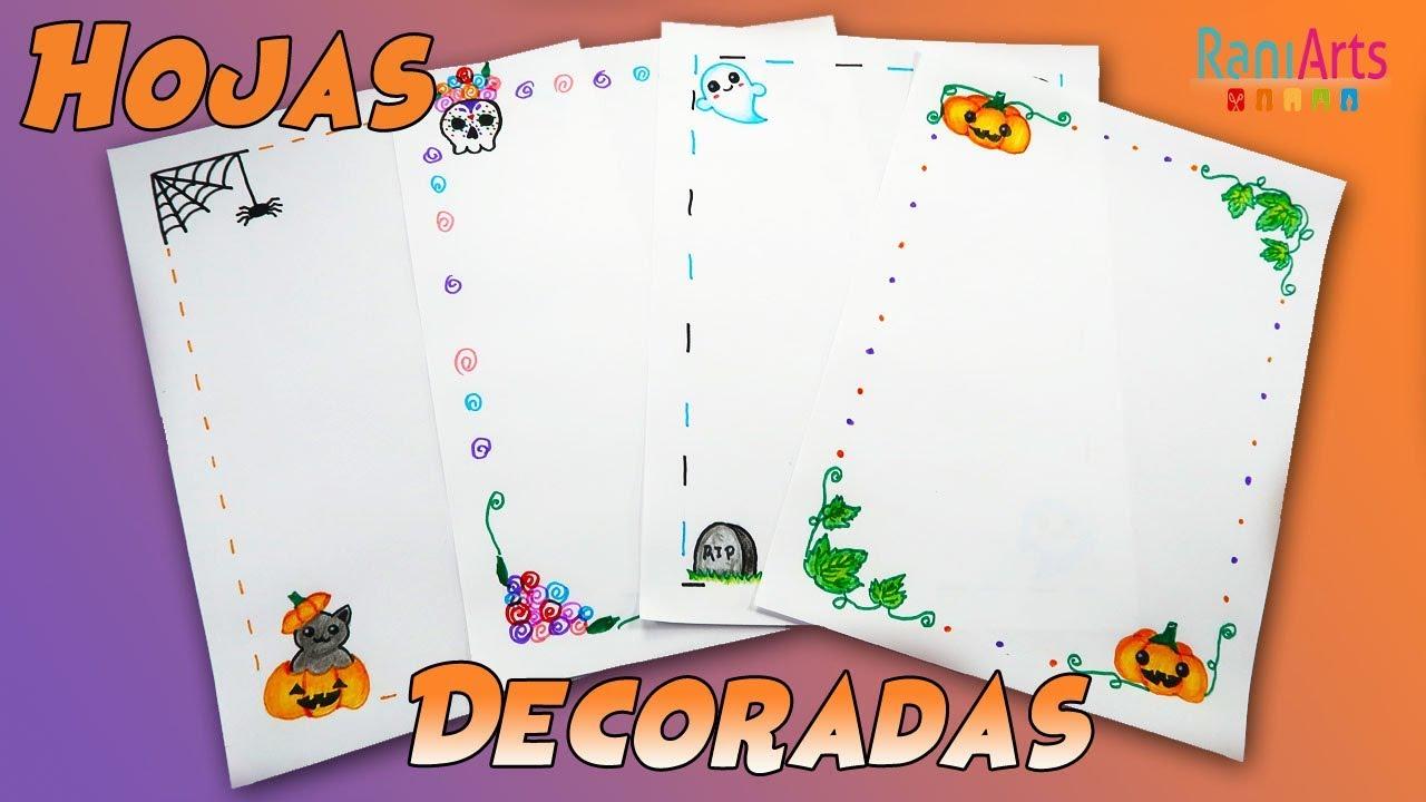 Hojas Decoradas Bordes Edición Halloween Diy Fácil