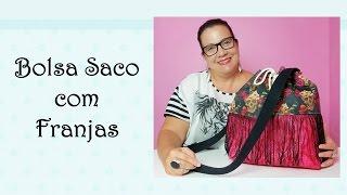 Bolsa Saco com Franjas por Arteirinhas by Claudia Viana
