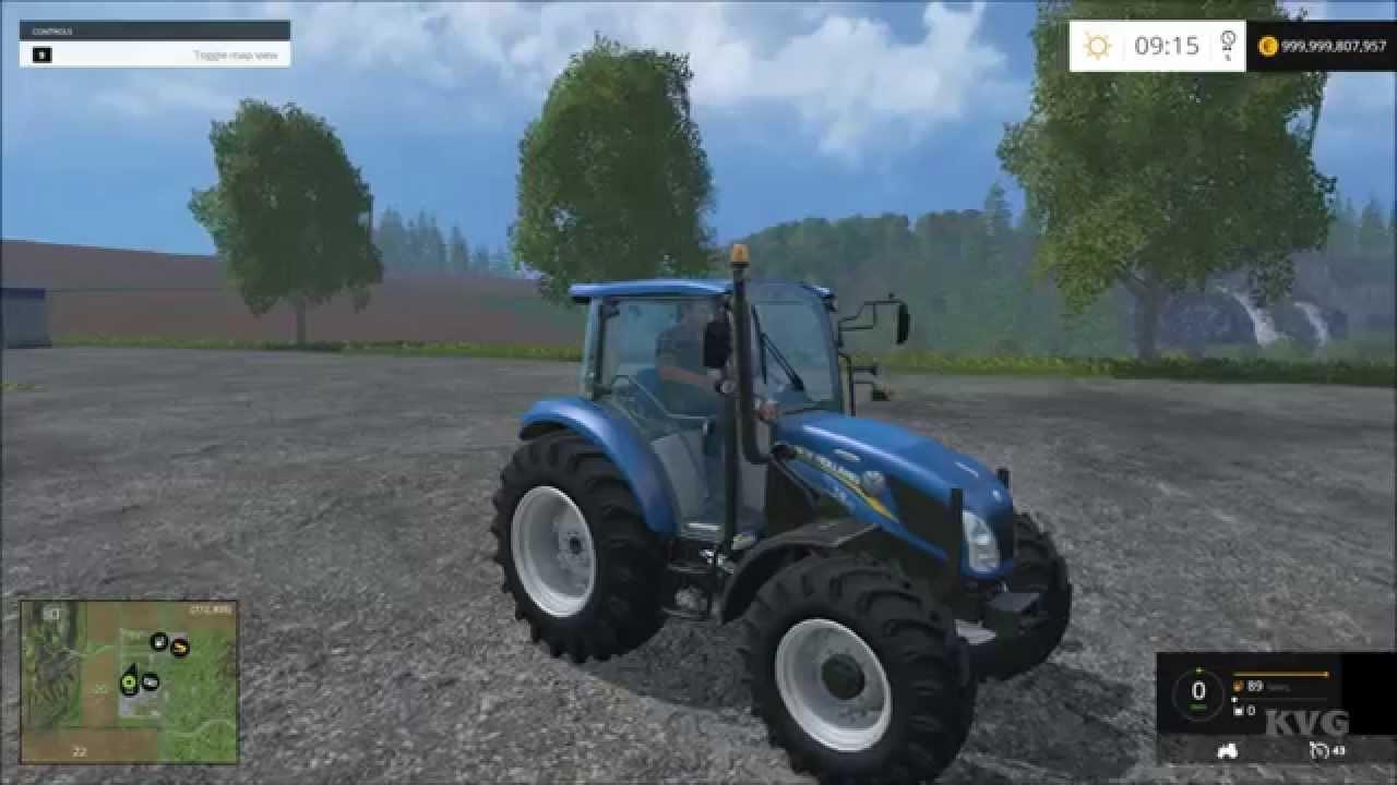 Farming Simulator 15 - New Holland T4 75 Powerstar Tractor Gameplay (PC HD)  [1080p]
