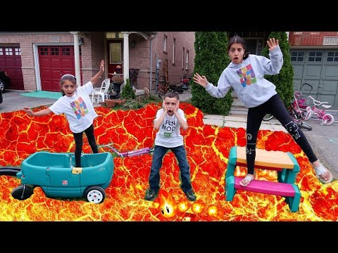 The Floor is lava Challenge! family fun kids video