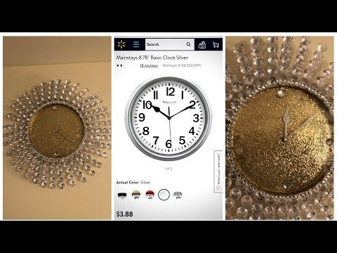 Dollar Tree Upcycle DIY - 💕Gold Glam Wall Clock💕