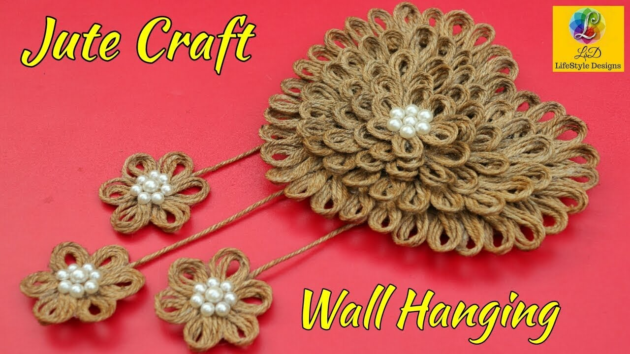 DIY Easy Room Decor Jute Wall Hanging   Showpiece Making ...