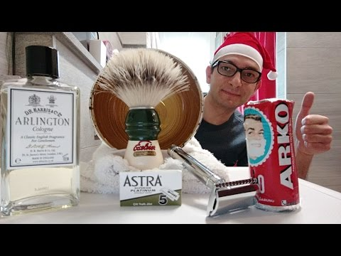 Christmas shaving - Edwin Jagger DE89 - ARKO Stick - Semogue 1305 - DR Harris Arlington Cologne