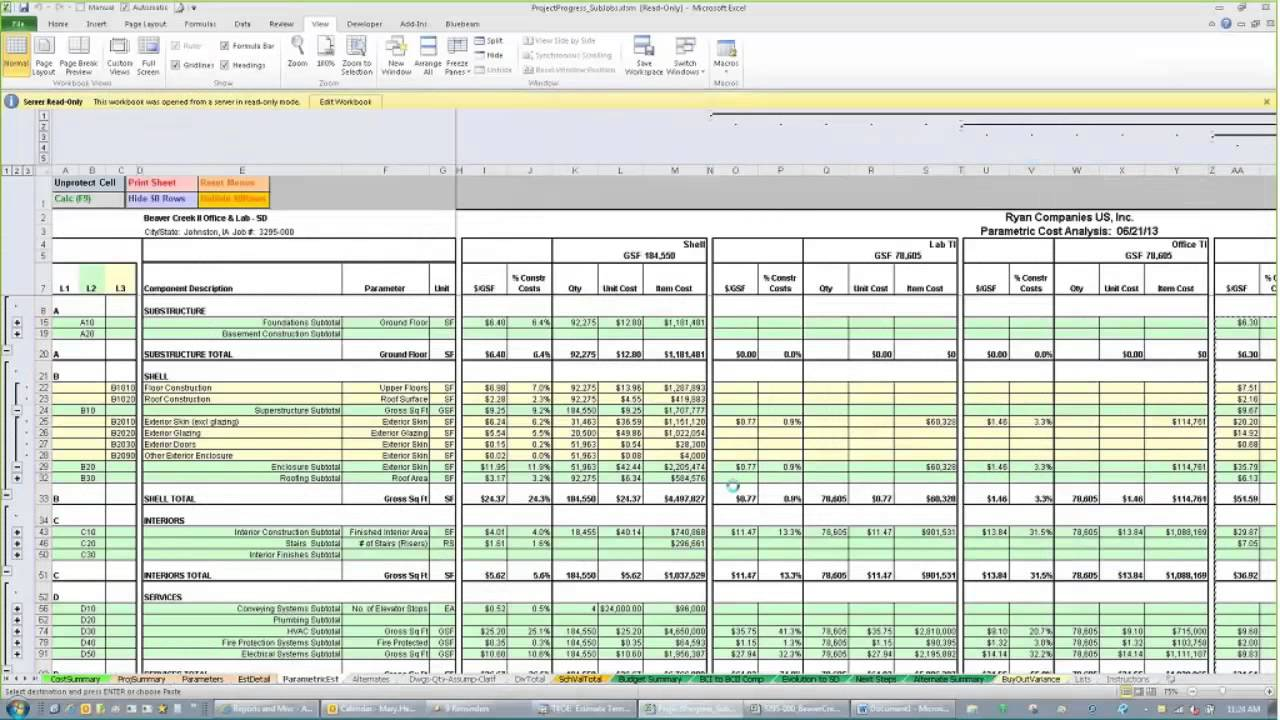 excel construction estimating template