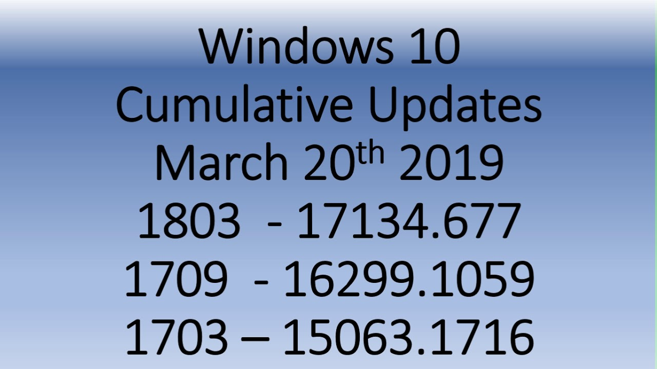 new windows update issues march 2018