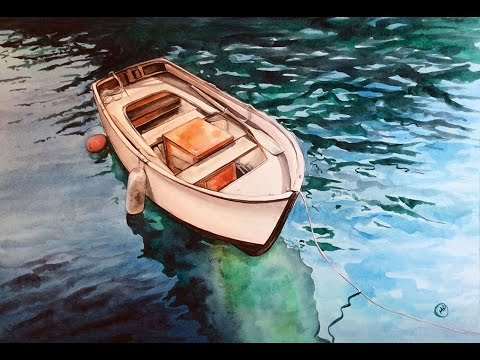 Watercolor Boat on a Clear Water Painting Demonstration ...
