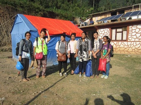 Interview during earthquake rescue and health camp in Babre, Dolakha Nepal