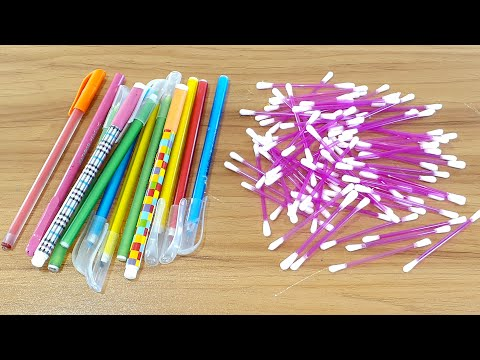 AMAZING CREATIVE IDEA WITH OLD PEN & COTTON BUDS | BEST CRAFT WITH OLD PEN | WALL HANGING