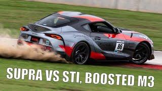 2020 Toyota Supra Battle Shootout! VS WRX STI, Boosted E46 M3 at Road America - Project TA90 #8.5