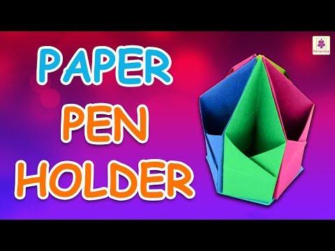 Origami Pen Holder | DIY Beautiful Paper Pen Holder For Kids | Periwinkle