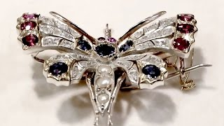 Pearl, Sapphire, Ruby and Diamond,  Butterfly Brooch - Antique Circa 1900 - AC Silver A1366