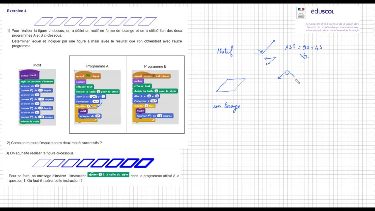 Nouveau brevet des collèges 2017 Sujet zéro - Ex4 scratch - YouTube