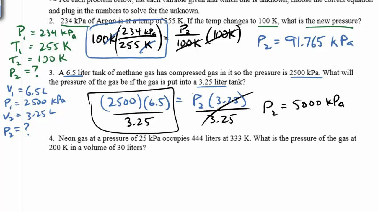 Gas Law Practice Problems Boyles Law Charles Law Gay Lussacs – Ideal Gas Law Worksheet Answers