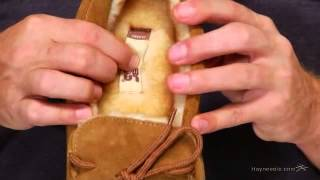 Lamo Mens Classic Suede Moccasin Slippers - Chestnut - Product Review Video