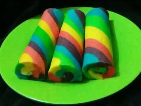 Resep Cara Membuat Rainbow Roll Cake Gulung Kukus Atau Panggang