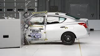 2014 Nissan Versa sedan small overlap IIHS crash test