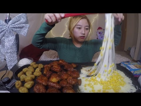 Corn Mozzarella Fondue + Chicken | MUKBANG