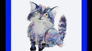 Как просто нарисовать кошку акварелью и карандашом