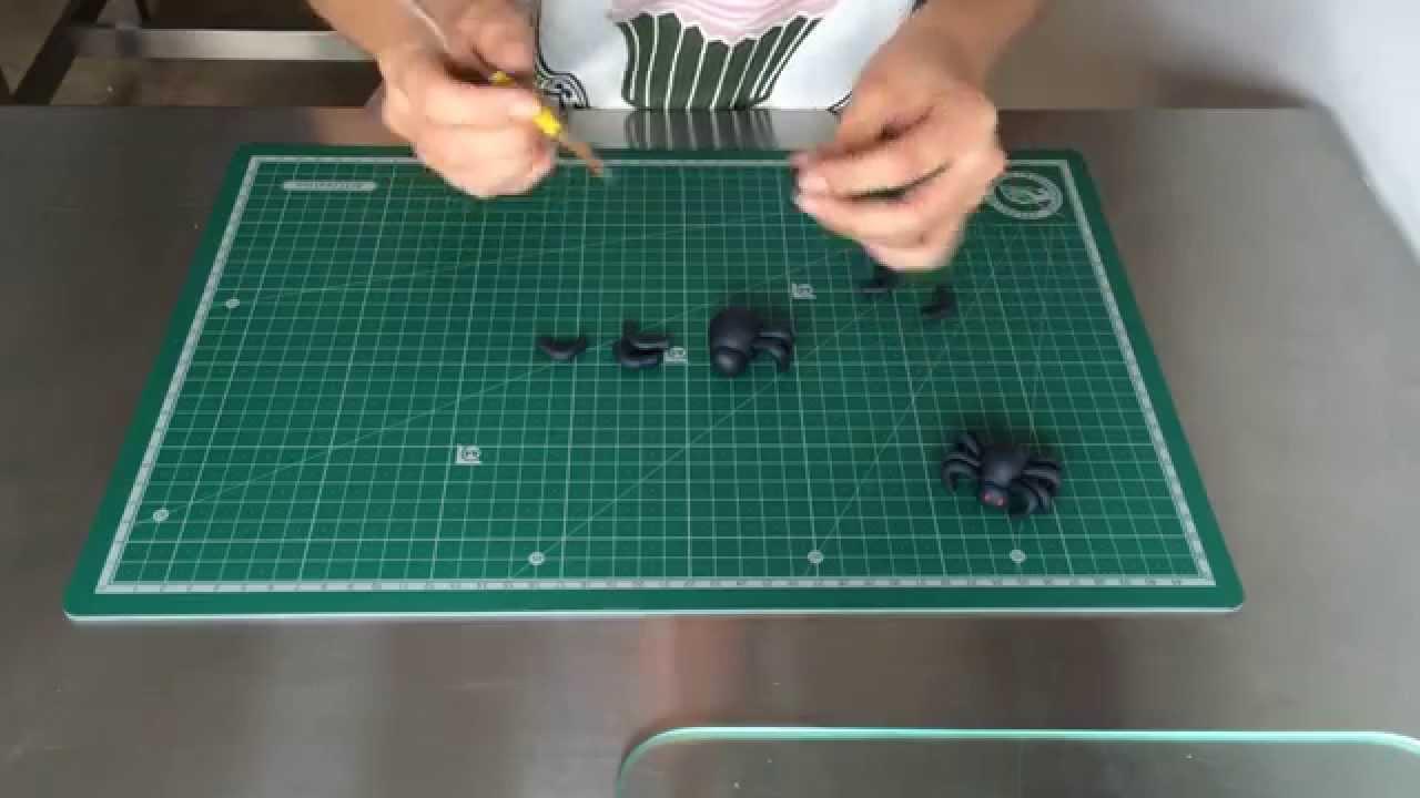 hacer araña fácil ideas para halloween decoración fondant - YouTube