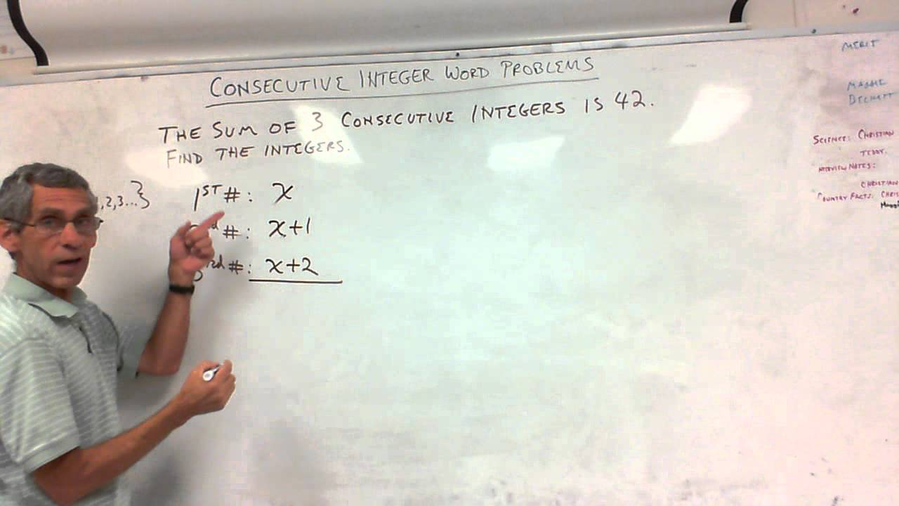 7th Grade - Consecutive Integer Word Problems 10/15/12 - YouTube [ 720 x 1280 Pixel ]