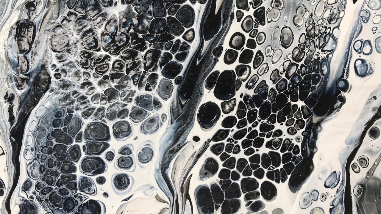 Acrylic pour painting easy swipe technique in classic black white