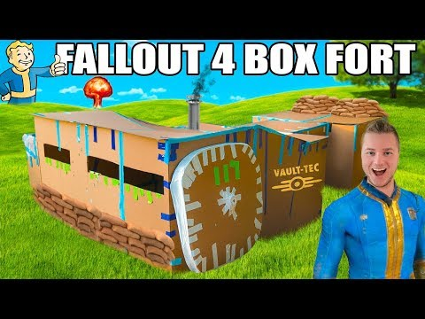 FALLOUT 4 BOX FORT VAULT!!  24 Hour Challenge: Running Water, Electricity & More!