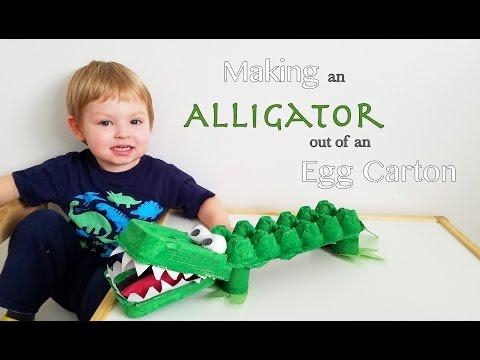 יצירת תנין מקרטון ביצים