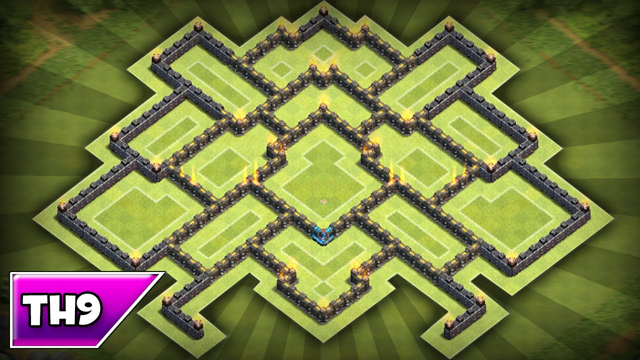 Clash of clans best townhall th9 trophy clan war base youtube