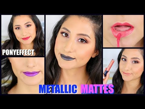 METALLIC MATTE LIP SWATCHES! | PONYEFFECT