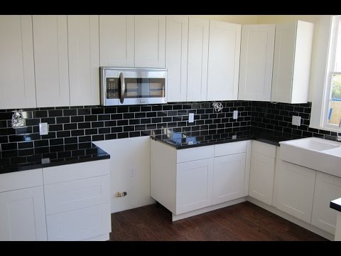 Backsplash Ideas for Black Granite Countertops and White Cabinets ...