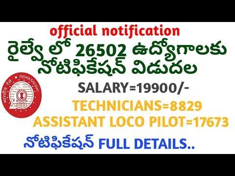 railway notification for 26502 posts in telugu | railway jobs 2018 explained in telugu |