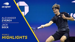 Alexander Zverev vs Jack Sock Highlights | 2021 US Open Round 3