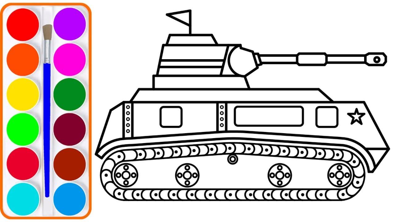 Dạy bé vẽ và tô màu xe tăng đại bác | Dạy bé vẽ | Dạy bé tô màu | How To Draw A Realistic Tank