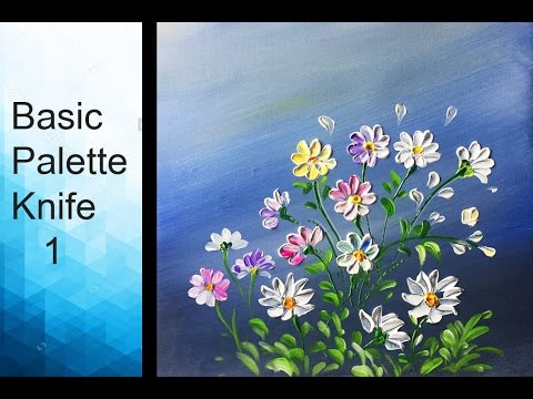 Paint wild flowers with Acrylic Paints and a Palette Knife - Basic Acrylic Techniques - Episode 1