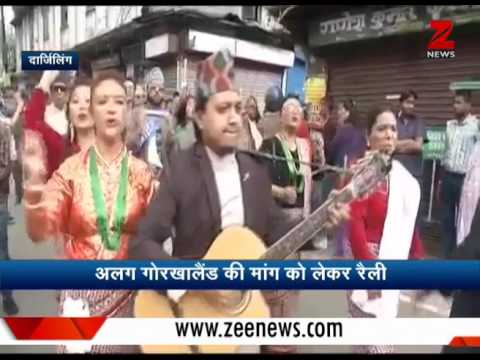 Watch: GJM supporters sing songs while rallying in Darjeeling