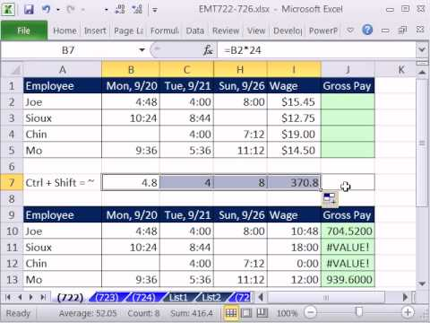 Excel Magic Trick 722: Calculate Gross Pay For Week From Time Values In Range & Hourly Wage