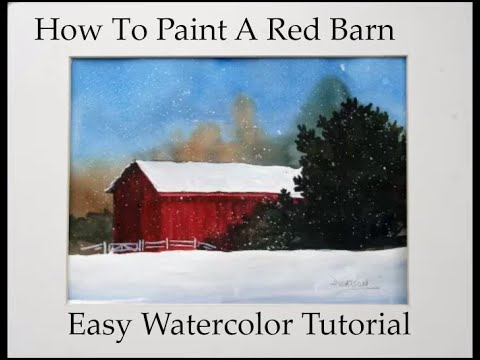 Watercolor Painting Red Barn in Snow
